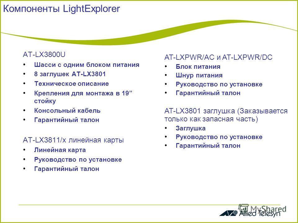 Компоненты LightExplorer AT-LX3800U Шасси с одним блоком питания 8 заглушек AT-LX3801 Техническое описание Крепления для монтажа в 19 стойку Консольный кабель Гарантийный талон AT-LX3811/x линейная карты Линейная карта Руководство по установке Гарант