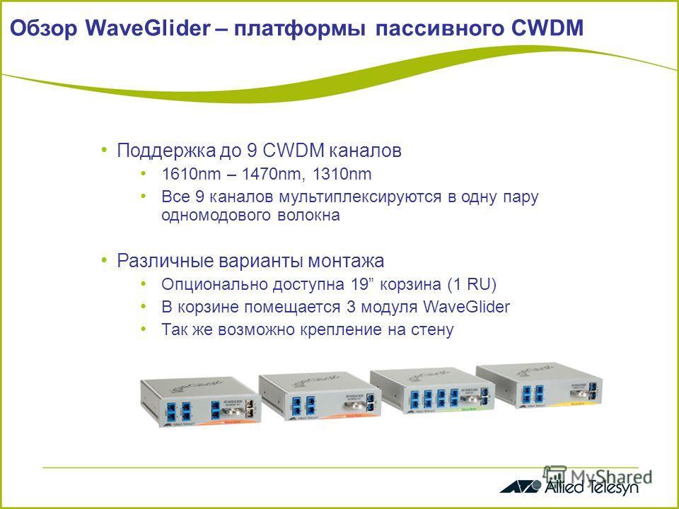 Обзор WaveGlider – платформы пассивного CWDM Поддержка до 9 CWDM каналов 1610nm – 1470nm, 1310nm Все 9 каналов мультиплексируются в одну пару одномодового волокна Различные варианты монтажа Опционально доступна 19 корзина (1 RU) В корзине помещается