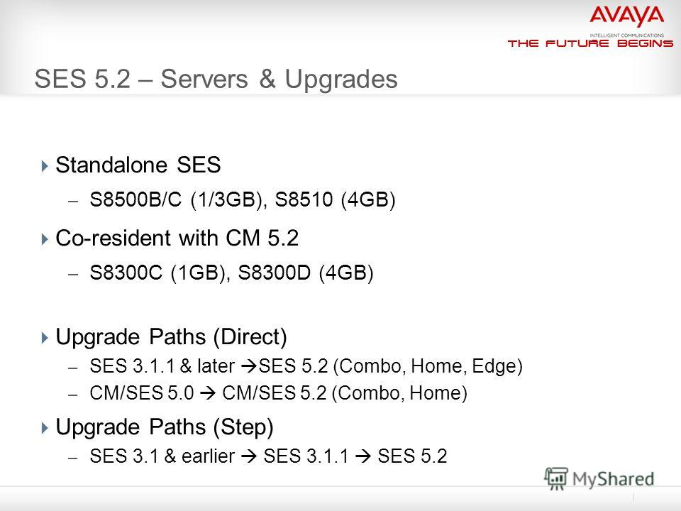 The Future Begins SES 5.2 – Servers & Upgrades Standalone SES – S8500B/C (1/3GB), S8510 (4GB) Co-resident with CM 5.2 – S8300C (1GB), S8300D (4GB) Upgrade Paths (Direct) – SES 3.1.1 & later SES 5.2 (Combo, Home, Edge) – CM/SES 5.0 CM/SES 5.2 (Combo,