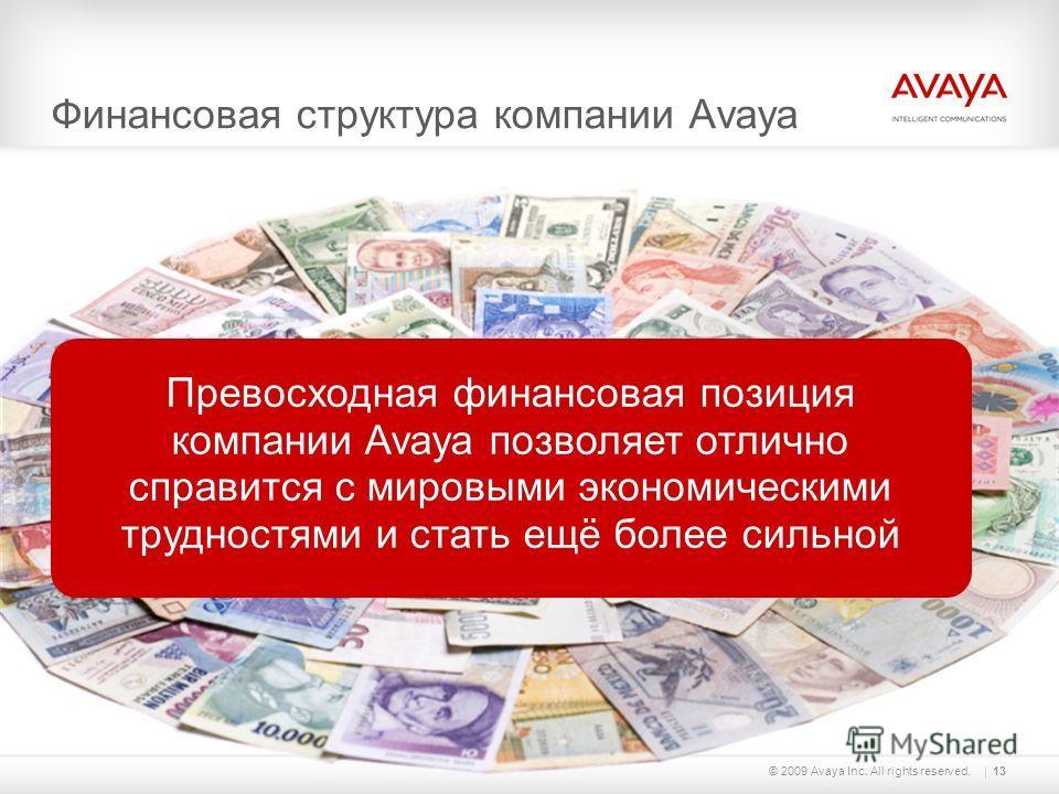 © 2009 Avaya Inc. All rights reserved.13 Финансовая структура компании Avaya Превосходная финансовая позиция компании Avaya позволяет отлично справится с мировыми экономическими трудностями и стать ещё более сильной