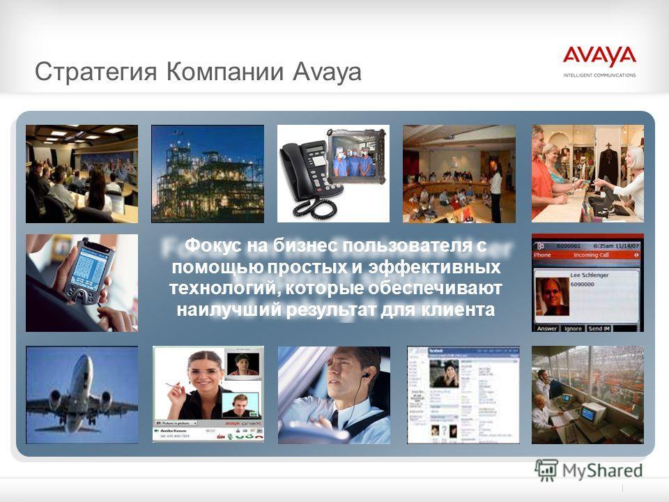 Стратегия Компании Avaya Фокус на бизнес пользователя с помощью простых и эффективных технологий, которые обеспечивают наилучший результат для клиента