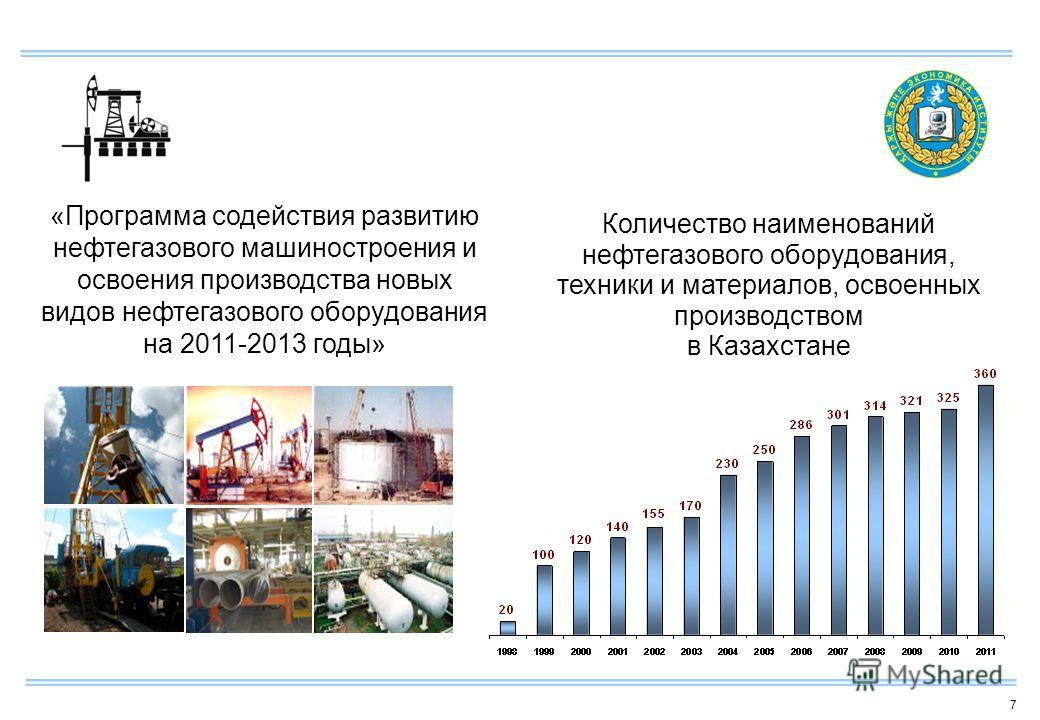 7 Количество наименований нефтегазового оборудования, техники и материалов, освоенных производством в Казахстане «Программа содействия развитию нефтегазового машиностроения и освоения производства новых видов нефтегазового оборудования на 2011-2013 г