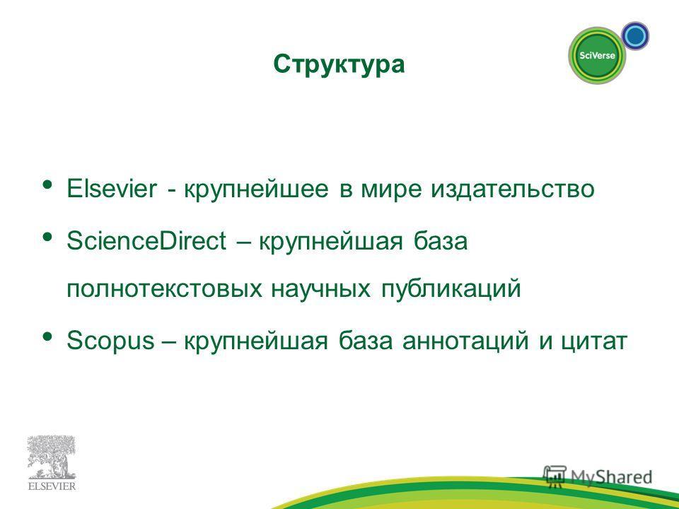 Структура Elsevier - крупнейшее в мире издательство ScienceDirect – крупнейшая база полнотекстовых научных публикаций Scopus – крупнейшая база аннотаций и цитат