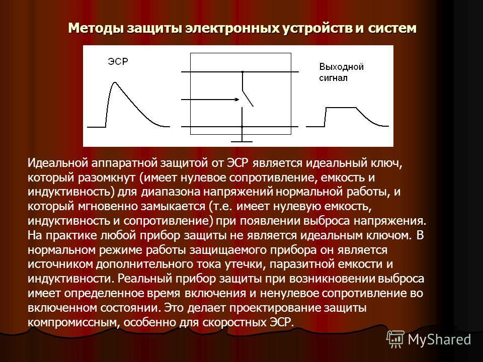 Идеальной аппаратной защитой от ЭСР является идеальный ключ, который разомкнут (имеет нулевое сопротивление, емкость и индуктивность) для диапазона напряжений нормальной работы, и который мгновенно замыкается (т.е. имеет нулевую емкость, индуктивност