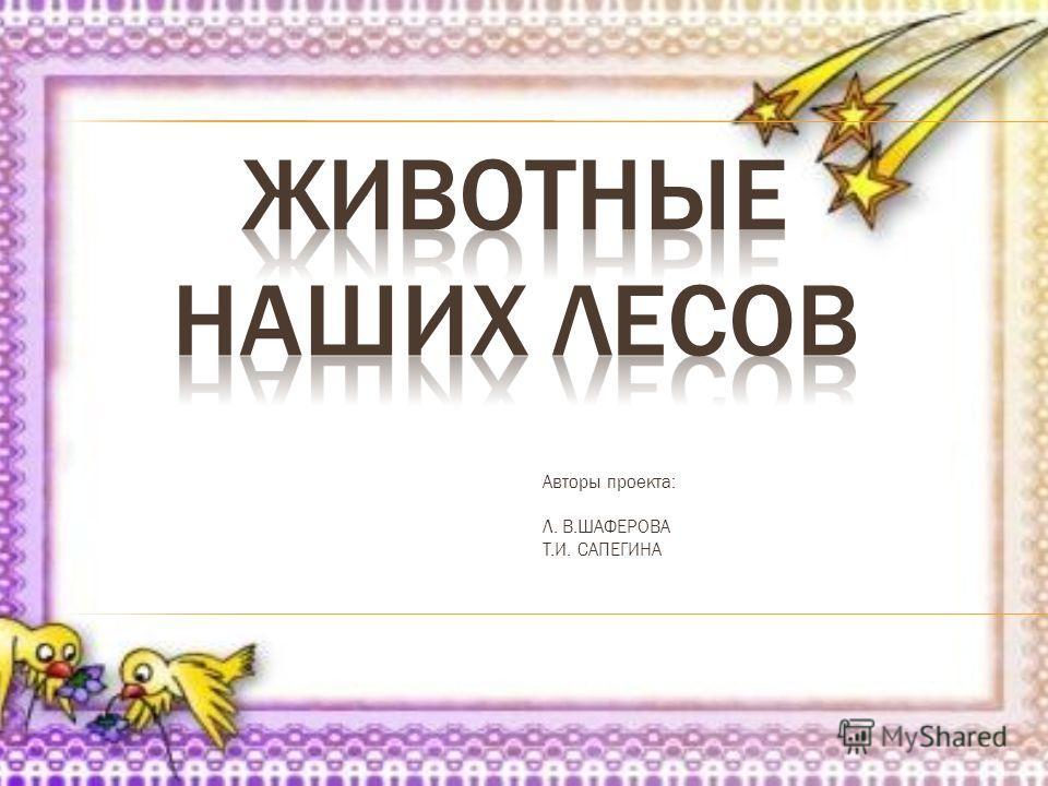 Авторы проекта: Л. В.ШАФЕРОВА Т.И. САПЕГИНА