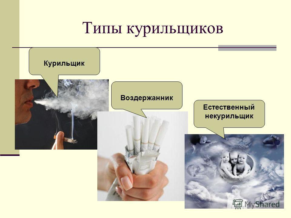 Типы курильщиков Курильщик Воздержанник Естественный некурильщик