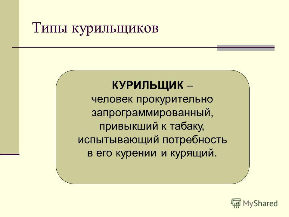 Типы курильщиков КУРИЛЬЩИК – человек прокурительно запрограммированный, привыкший к табаку, испытывающий потребность в его курении и курящий.