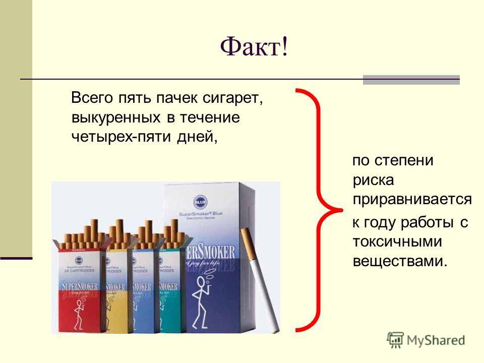 Факт! Всего пять пачек сигарет, выкуренных в течение четырех-пяти дней, по степени риска приравнивается к году работы с токсичными веществами.