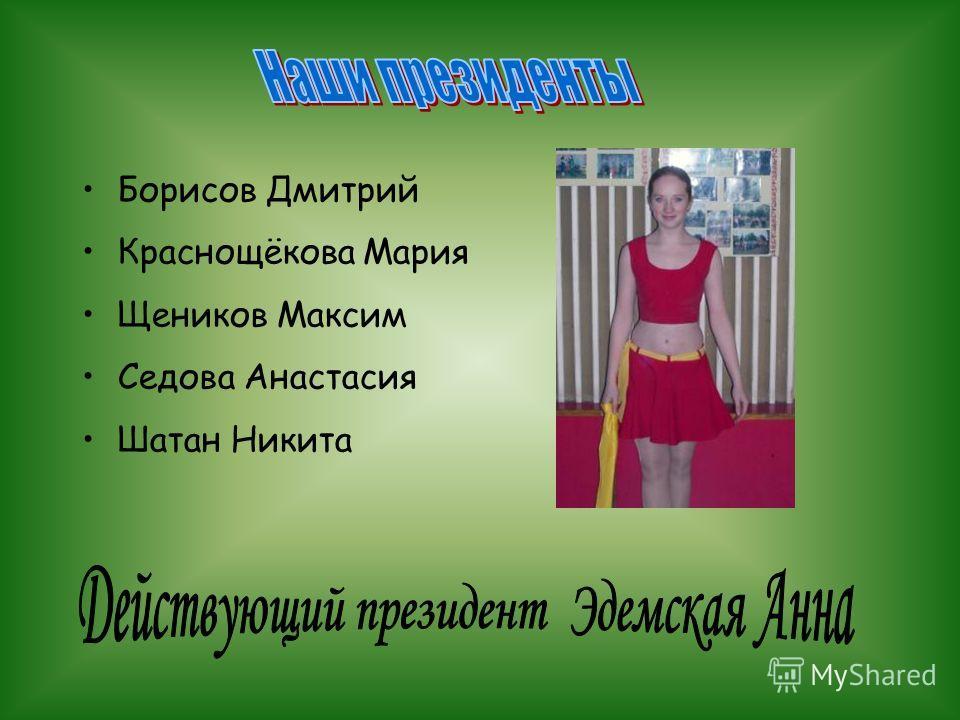 Борисов Дмитрий Краснощёкова Мария Щеников Максим Седова Анастасия Шатан Никита