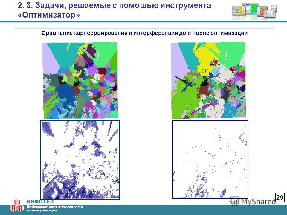 ИНФОТЕЛ Информационные технологии и коммуникации 2. 3. Задачи, решаемые с помощью инструмента «Оптимизатор» 29 Сравнение карт сервирования и интерференции до и после оптимизации