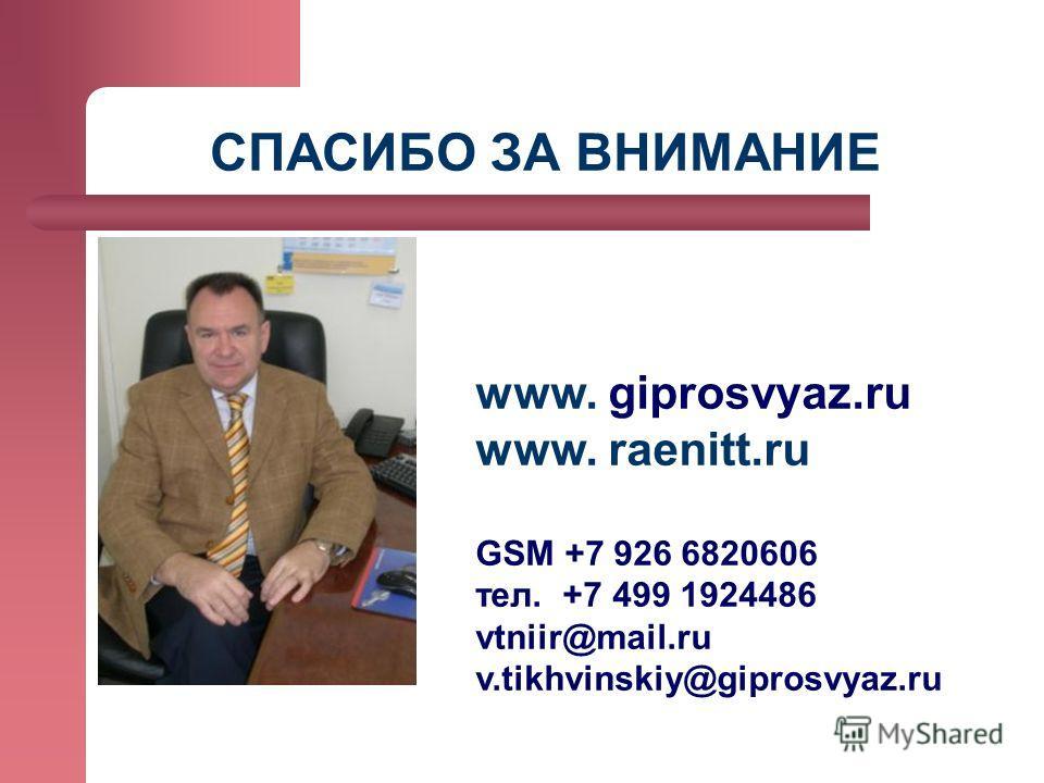СПАСИБО ЗА ВНИМАНИЕ www. giprosvyaz.ru www. raenitt.ru GSM +7 926 6820606 тел. +7 499 1924486 vtniir@mail.ru v.tikhvinskiy@giprosvyaz.ru