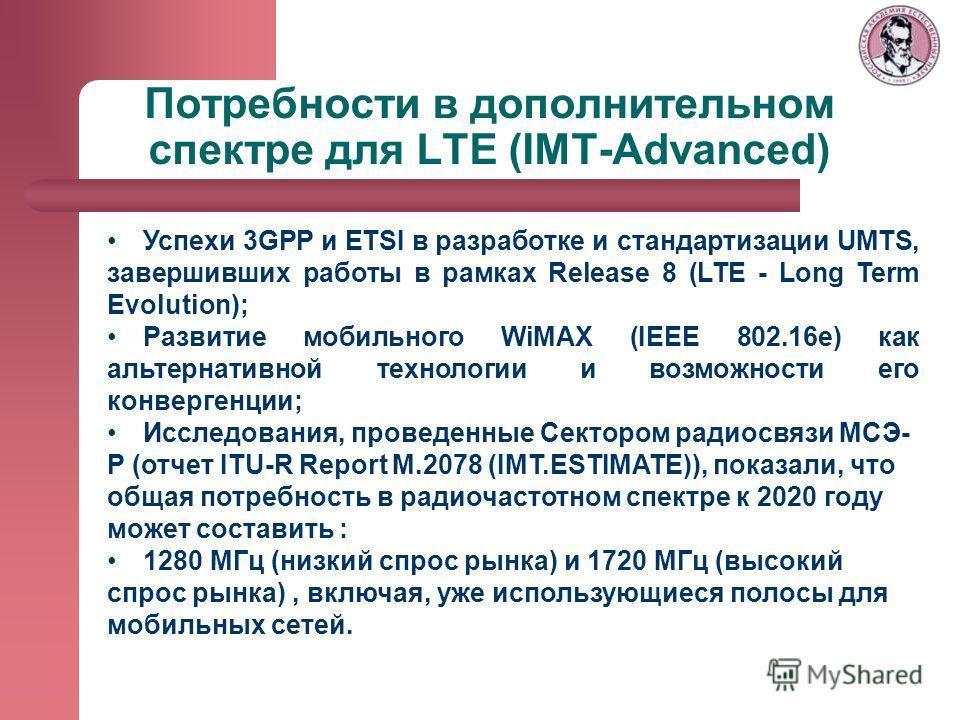 Потребности в дополнительном спектре для LTE (IMT-Advanced) Успехи 3GPP и ETSI в разработке и стандартизации UMTS, завершивших работы в рамках Release 8 (LTE - Long Term Evolution); Развитие мобильного WiMAX (IEEE 802.16e) как альтернативной технолог