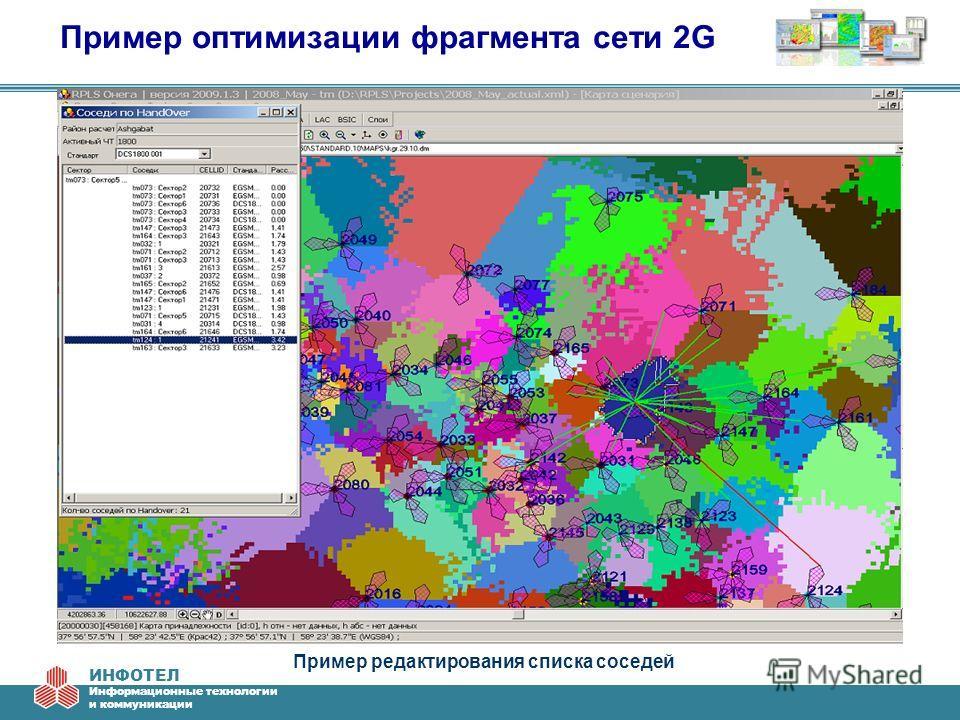 ИНФОТЕЛ Информационные технологии и коммуникации Пример оптимизации фрагмента сети 2G Пример редактирования списка соседей