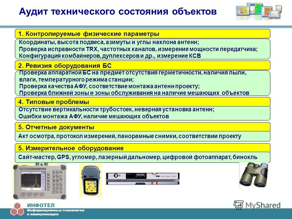 ИНФОТЕЛ Информационные технологии и коммуникации Аудит технического состояния объектов 1. Контролируемые физические параметры Координаты, высота подвеса, азимуты и углы наклона антенн; Проверка исправности TRX, частотных каналов, измерение мощности п