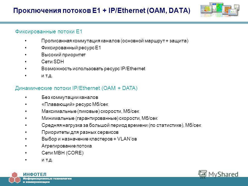 ИНФОТЕЛ Информационные технологии и коммуникации Проключения потоков E1 + IP/Ethernet (OAM, DATA) Прописанная коммутация каналов (основной маршрут + защита) Фиксированный ресурс Е1 Высокий приоритет Сети SDH Возможность использовать ресурс IP/Etherne