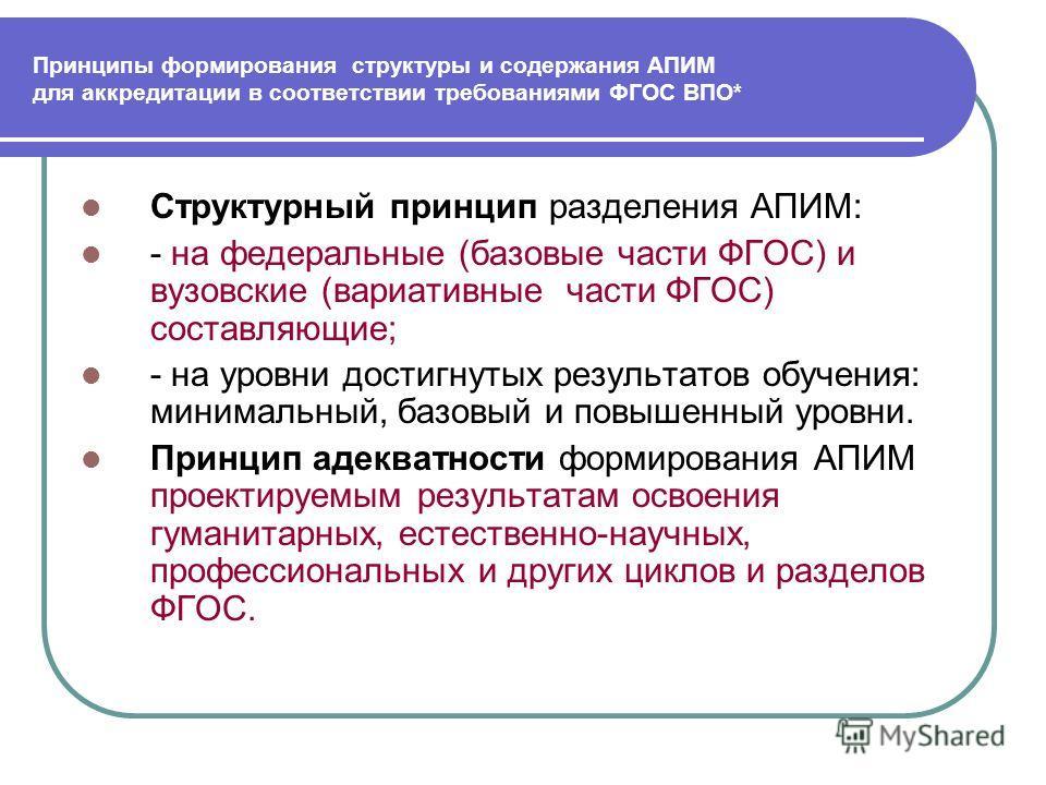 Принципы формирования структуры и содержания АПИМ для аккредитации в соответствии требованиями ФГОС ВПО* Структурный принцип разделения АПИМ: - на федеральные (базовые части ФГОС) и вузовские (вариативные части ФГОС) составляющие; - на уровни достигн