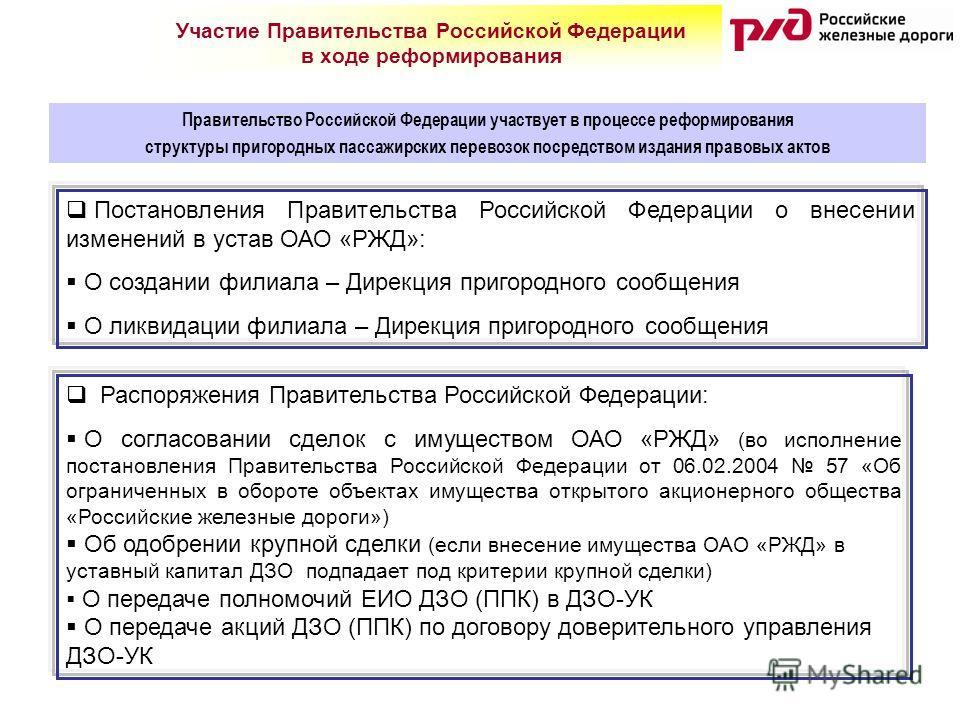 Правительство Российской Федерации участвует в процессе реформирования структуры пригородных пассажирских перевозок посредством издания правовых актов Участие Правительства Российской Федерации в ходе реформирования Постановления Правительства Россий