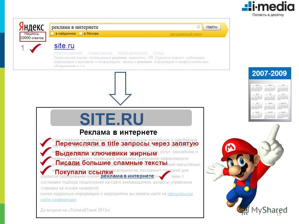 19 2007-2009 1 site.ru SITE.RU Реклама в интернете реклама в интернете Выделяли ключевики жирным Перечисляли в title запросы через запятую Покупали ссылки Писали большие спамные тексты