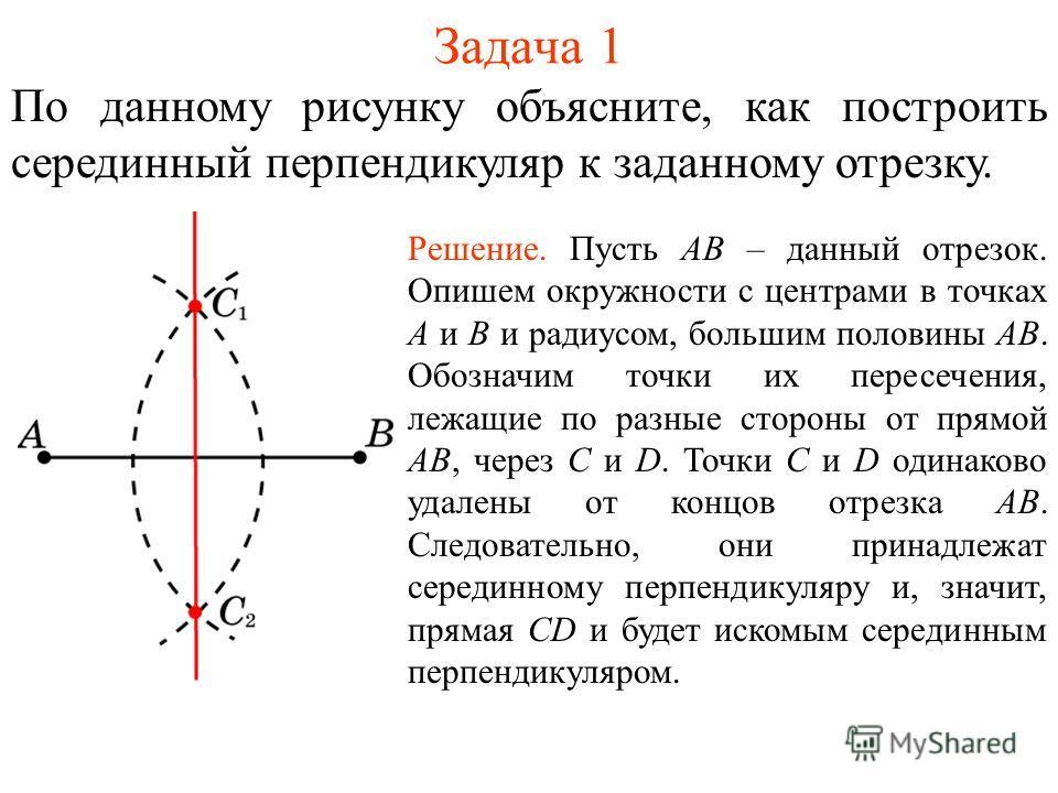 Задача 1 По данному рисунку объясните, как построить серединный перпендикуляр к заданному отрезку. Решение. Пусть АВ – данный отрезок. Опишем окружности с центрами в точках А и В и радиусом, большим половины АВ. Обозначим точки их пересечения, лежащи