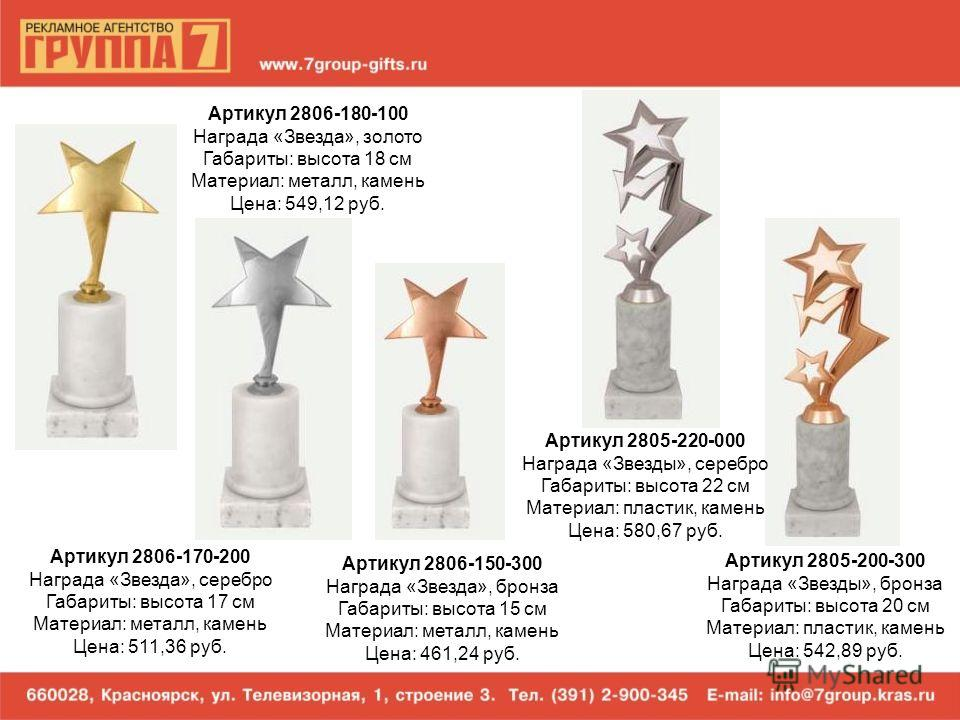 Артикул 2806-180-100 Награда «Звезда», золото Габариты: высота 18 см Материал: металл, камень Цена: 549,12 руб. Артикул 2806-170-200 Награда «Звезда», серебро Габариты: высота 17 см Материал: металл, камень Цена: 511,36 руб. Артикул 2806-150-300 Нагр