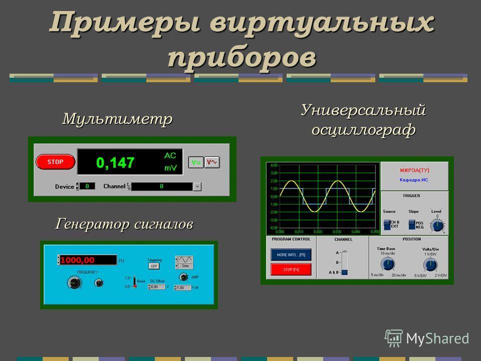 Примеры виртуальных приборов Универсальный осциллограф Мультиметр Генератор сигналов