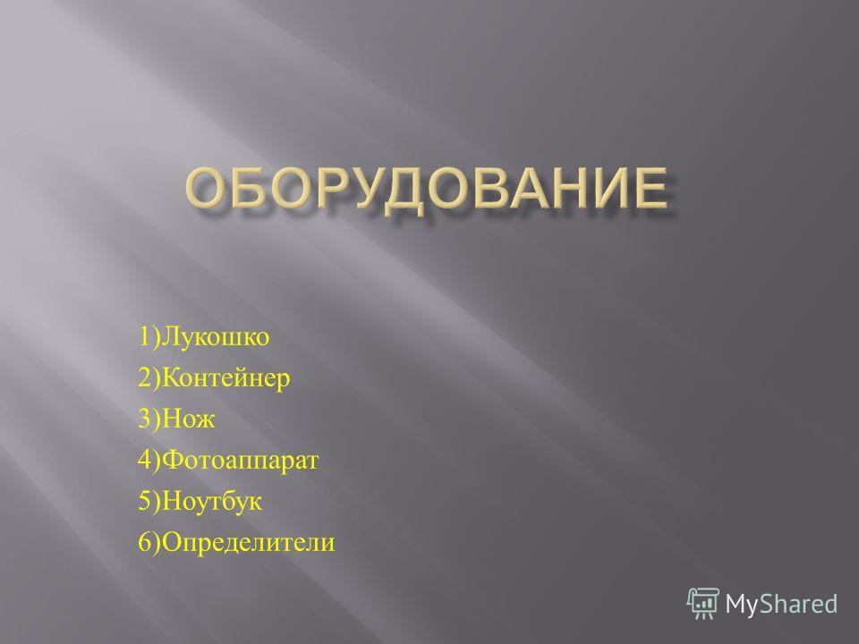 1) Лукошко 2) Контейнер 3) Нож 4) Фотоаппарат 5) Ноутбук 6) Определители
