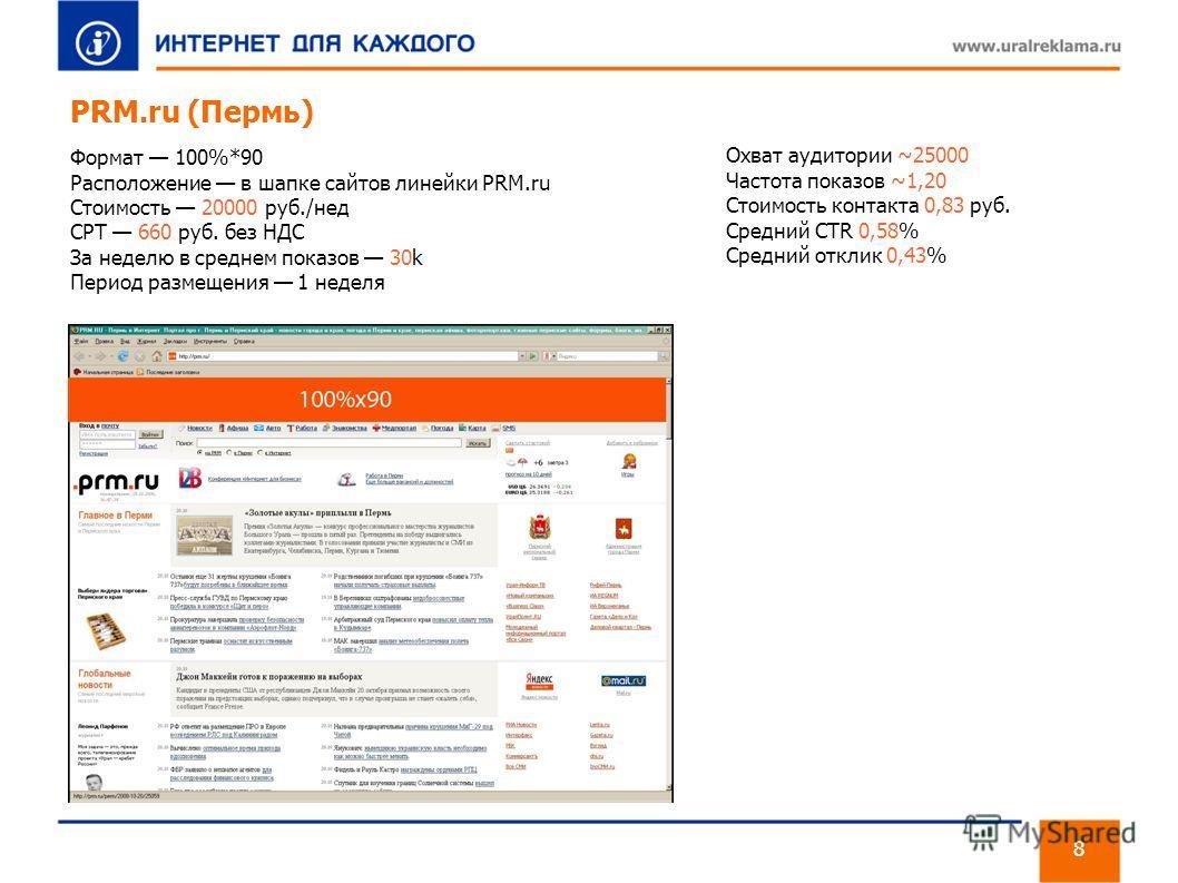 PRM.ru (Пермь) Формат 100%*90 Расположение в шапке сайтов линейки PRM.ru Стоимость 20000 руб./нед CPT 660 руб. без НДС За неделю в среднем показов 30k Период размещения 1 неделя 8 Охват аудитории ~25000 Частота показов ~1,20 Стоимость контакта 0,83 р