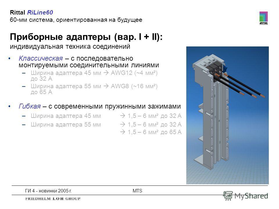 ГИ 4 - новинки 2005 г.MTS Приборные адаптеры (вар. I + II): индивидуальная техника соединений Rittal RiLine60 60-мм система, ориентированная на будущее Классическая – с последовательно монтируемыми соединительными линиями –Ширина адаптера 45 мм AWG12