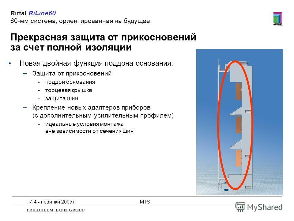 ГИ 4 - новинки 2005 г.MTS Прекрасная защита от прикосновений за счет полной изоляции Rittal RiLine60 60-мм система, ориентированная на будущее Новая двойная функция поддона основания: –Защита от прикосновений -поддон основания -торцевая крышка -защит