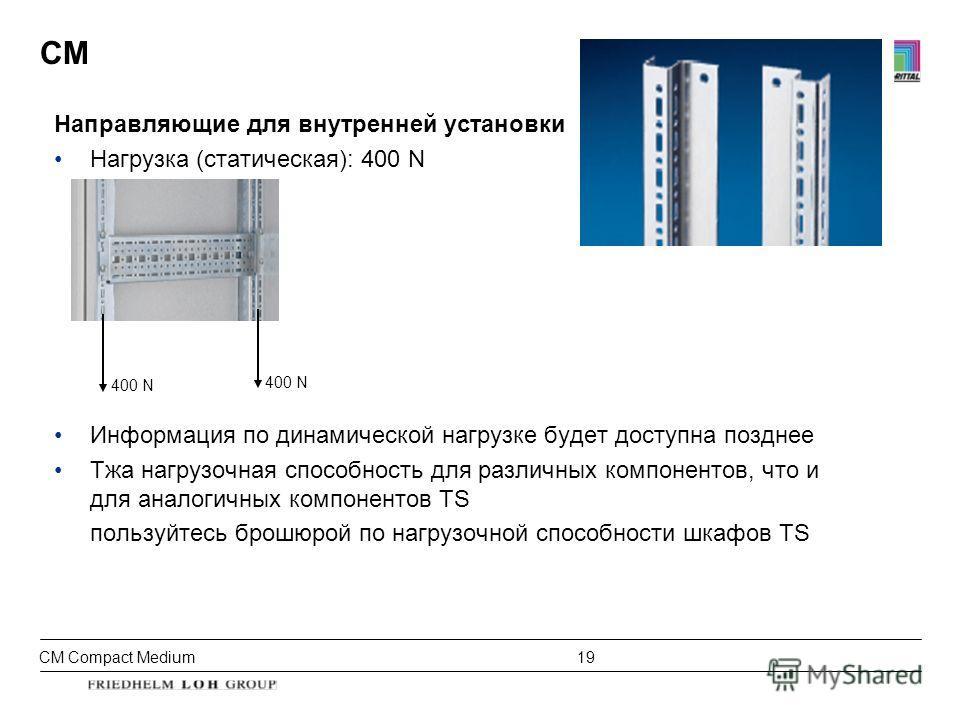 CM Compact Medium 19 CM Направляющие для внутренней установки Нагрузка (статическая): 400 N Информация по динамической нагрузке будет доступна позднее Тжа нагрузочная способность для различных компонентов, что и для аналогичных компонентов TS пользуй
