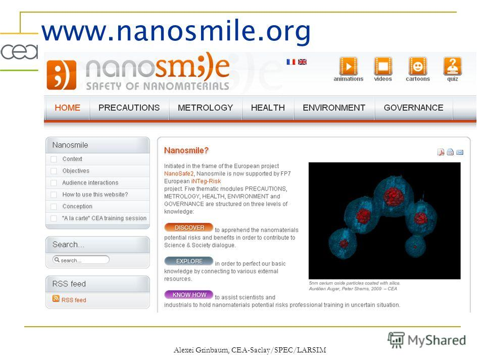 www.nanosmile.org Alexei Grinbaum, CEA-Saclay/SPEC/LARSIM