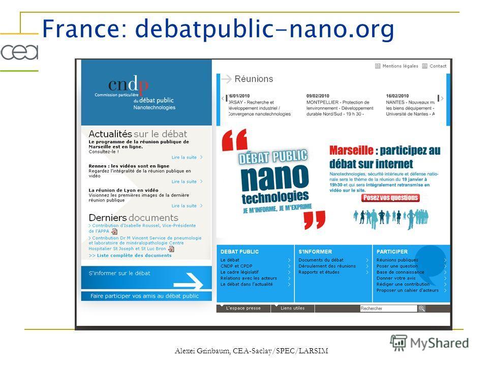 France: debatpublic-nano.org Alexei Grinbaum, CEA-Saclay/SPEC/LARSIM