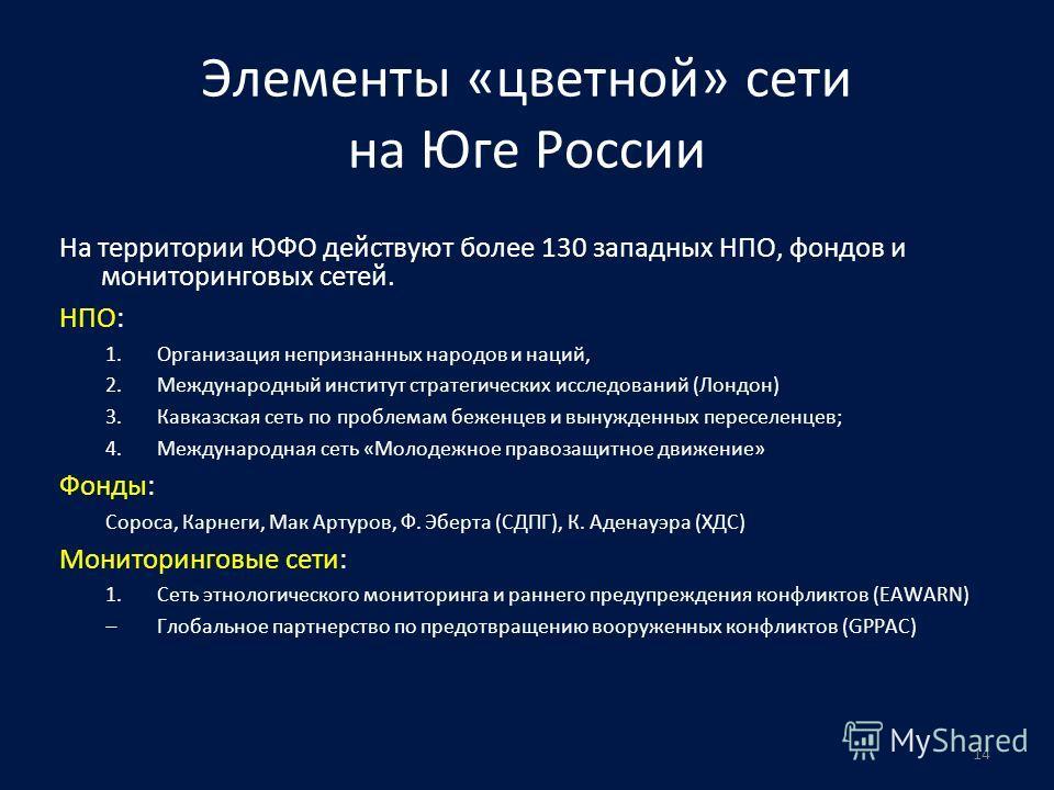 14 Элементы «цветной» сети на Юге России На территории ЮФО действуют более 130 западных НПО, фондов и мониторинговых сетей. НПО: 1.Организация непризнанных народов и наций, 2.Международный институт стратегических исследований (Лондон) 3.Кавказская се