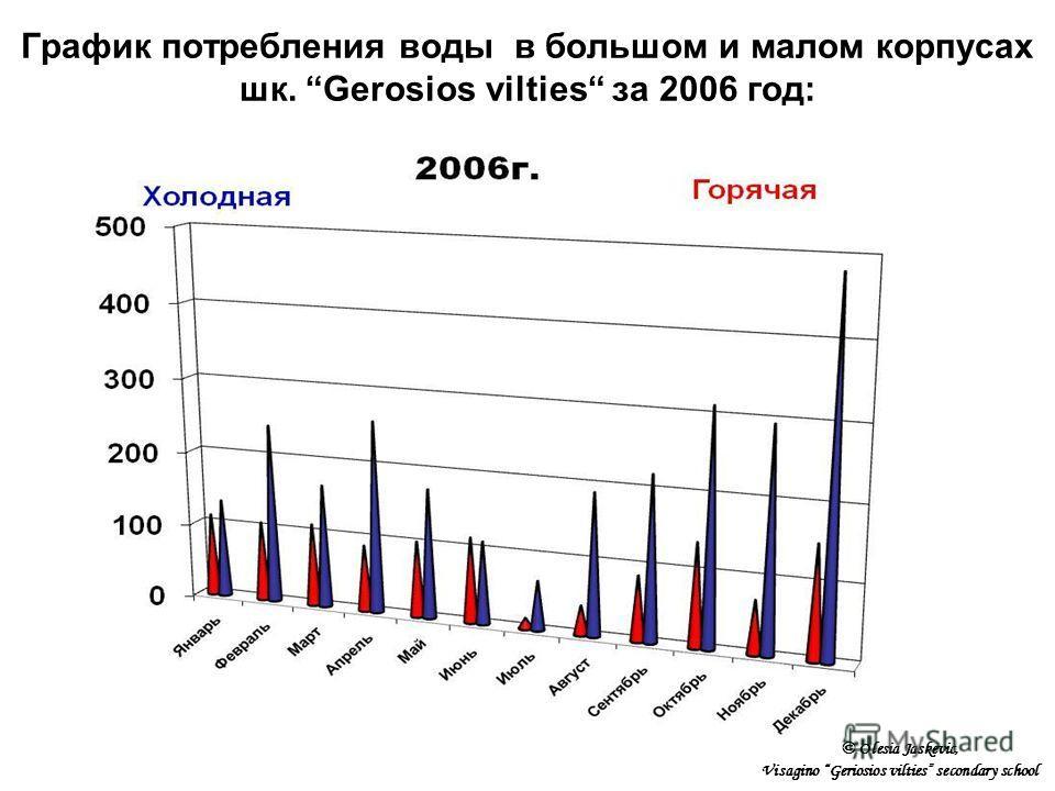 График потребления воды в большом и малом корпусах шк. Gerosios vilties за 2006 год: © Olesia Jaskevic, Visagino Geriosios vilties secondary school