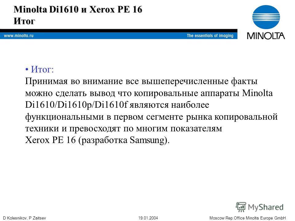 D Kolesnikov, P Zaitsev 19.01.2004 Moscow Rep.Office Minolta Europe GmbH Minolta Di1610 и Xerox PE 16 Итог Итог: Принимая во внимание все вышеперечисленные факты можно сделать вывод что копировальные аппараты Minolta Di1610/Di1610p/Di1610f являются н