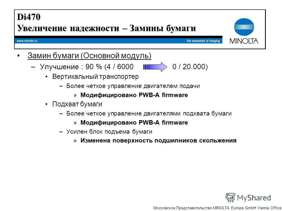 The essentials of imaging Московское Представительство MINOLTA Europe GmbH Vienna Office Замин бумаги (Основной модуль) –Улучшение : 90 % (4 / 6000 0 / 20.000) Вертикальный транспортер –Более четкое управление двигателем подачи »Модифицировано PWB-A