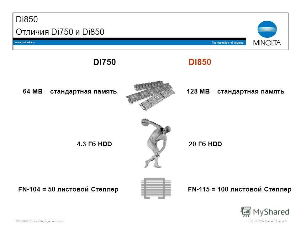 IMD/B&W Product Management Group 05.07.2002 Rainer Grzeca 5 www.minolta.ru Di850 Отличия Di750 и Di850 Di750Di850 64 MB – стандартная память128 MB – стандартная память 4.3 Гб HDD20 Гб HDD FN-104 = 50 листовой СтеплерFN-115 = 100 листовой Степлер