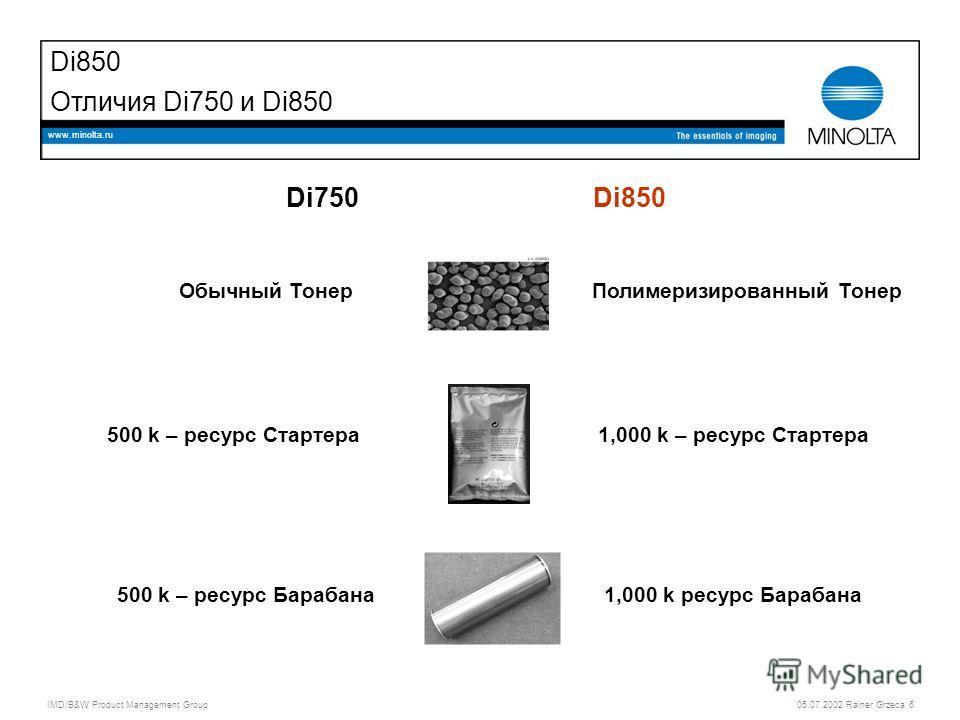 IMD/B&W Product Management Group 05.07.2002 Rainer Grzeca 6 www.minolta.ru Di850 Отличия Di750 и Di850 Di750Di850 Обычный ТонерПолимеризированный Тонер 500 k – ресурс Стартера1,000 k – ресурс Стартера 500 k – ресурс Барабана1,000 k ресурс Барабана