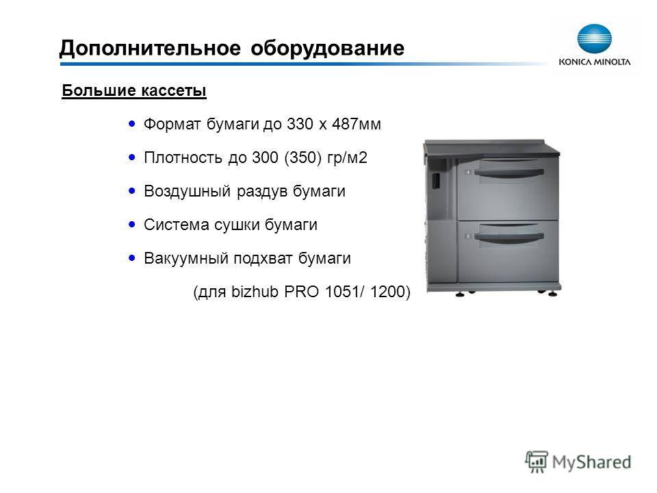 Большие кассеты Формат бумаги до 330 x 487мм Плотность до 300 (350) гр/м2 Воздушный раздув бумаги Система сушки бумаги Вакуумный подхват бумаги (для bizhub PRO 1051/ 1200) Дополнительное оборудование