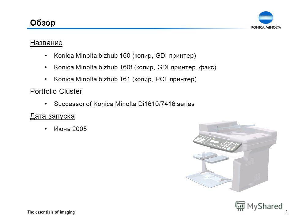 2 Название Konica Minolta bizhub 160 (копир, GDI принтер) Konica Minolta bizhub 160f (копир, GDI принтер, факс) Konica Minolta bizhub 161 (копир, PCL принтер) Portfolio Cluster Successor of Konica Minolta Di1610/7416 series Дата запуска Июнь 2005 Обз