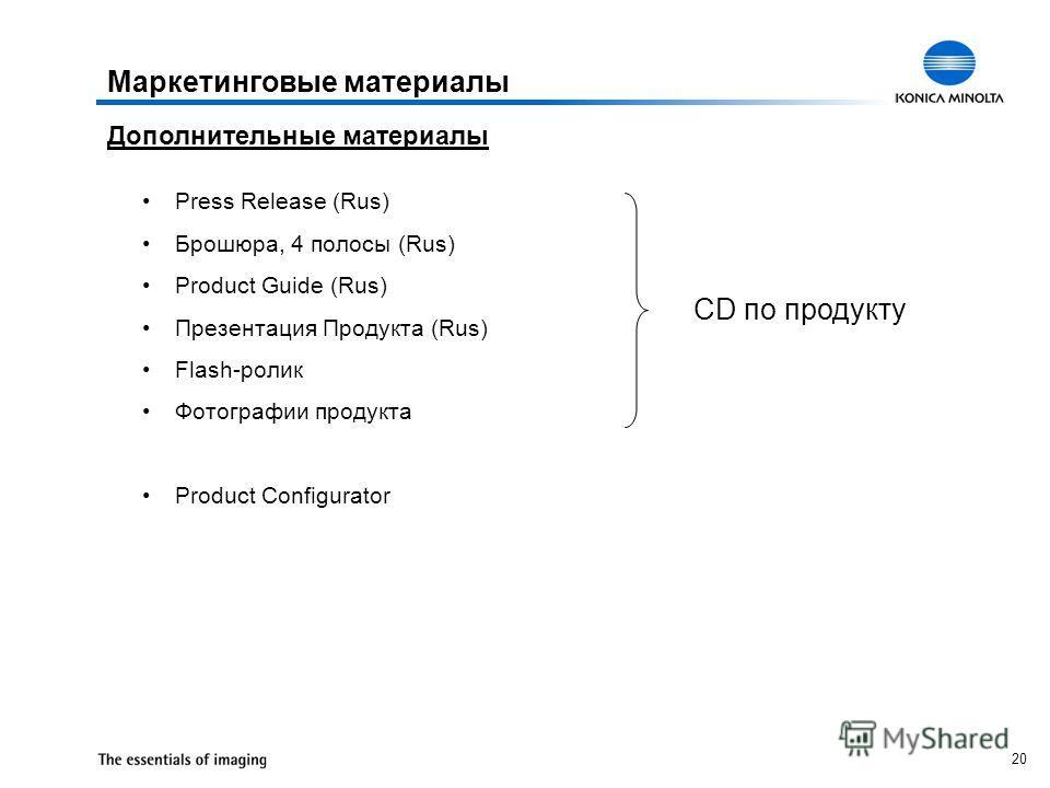 20 Маркетинговые материалы Дополнительные материалы Press Release (Rus) Брошюра, 4 полосы (Rus) Product Guide (Rus) Презентация Продукта (Rus) Flash-ролик Фотографии продукта Product Сonfigurator CD по продукту