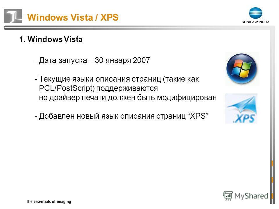 1. Windows Vista - Дата запуска – 30 января 2007 - Текущие языки описания страниц (такие как PCL/PostScript) поддерживаются но драйвер печати должен быть модифицирован - Добавлен новый язык описания страниц XPS