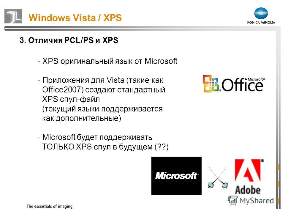 Windows Vista / XPS 3. Отличия PCL/PS и XPS - XPS оригинальный язык от Microsoft - Приложения для Vista (такие как Office2007) создают стандартный XPS спул-файл (текущий языки поддерживается как дополнительные) - Microsoft будет поддерживать ТОЛЬКО X