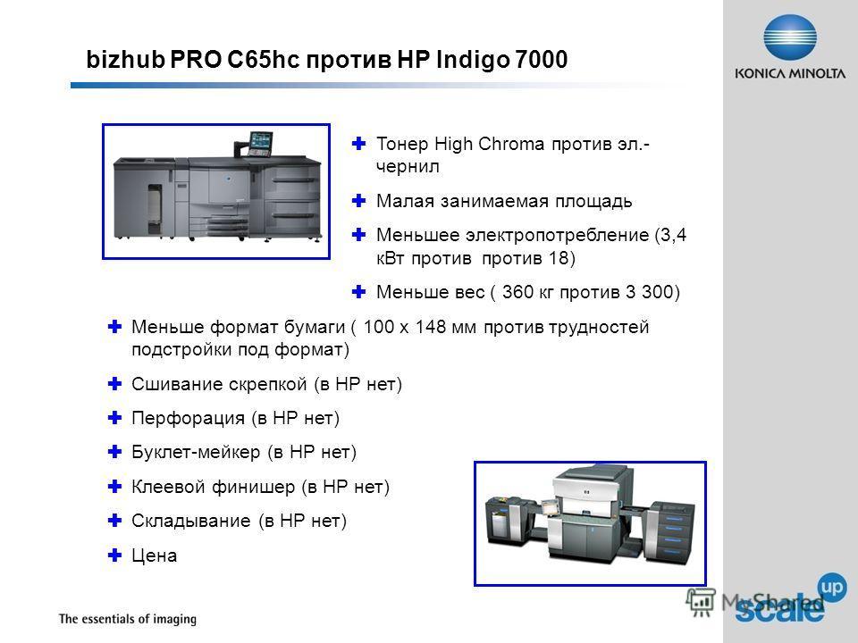 bizhub PRO C65hc против HP Indigo 7000 Тонер High Chroma против эл.- чернил Малая занимаемая площадь Меньшее электропотребление (3,4 кВт против против 18) Меньше вес ( 360 кг против 3 300) Меньше формат бумаги ( 100 x 148 мм против трудностей подстро