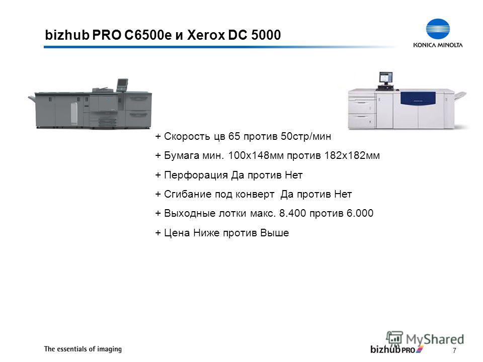 7 bizhub PRO C6500e и Xerox DC 5000 + Скорость цв 65 против 50стр/мин + Бумага мин. 100x148мм против 182x182мм + Перфорация Да против Нет + Сгибание под конверт Да против Нет + Выходные лотки макс. 8.400 против 6.000 + Цена Ниже против Выше