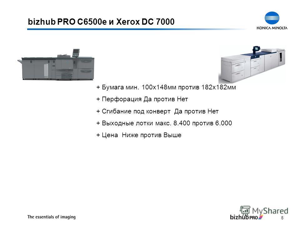8 bizhub PRO C6500e и Xerox DC 7000 + Бумага мин. 100x148мм против 182x182мм + Перфорация Да против Нет + Сгибание под конверт Да против Нет + Выходные лотки макс. 8.400 против 6.000 + Цена Ниже против Выше