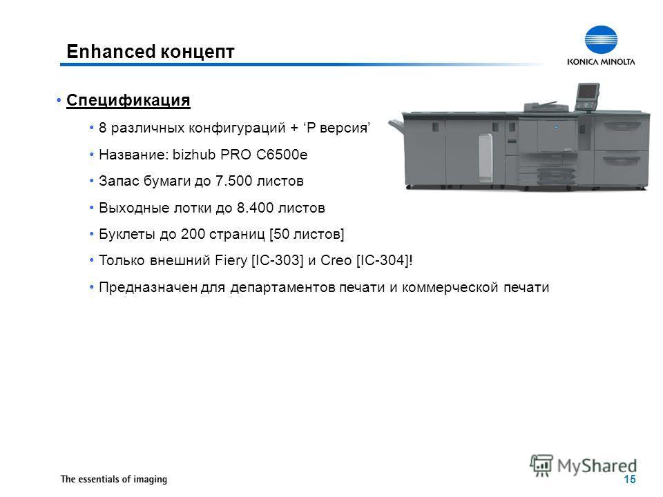 15 Enhanced концепт Спецификация 8 различных конфигураций + P версия Название: bizhub PRO C6500e Запас бумаги до 7.500 листов Выходные лотки до 8.400 листов Буклеты до 200 страниц [50 листов] Только внешний Fiery [IC-303] и Creo [IC-304]! Предназначе