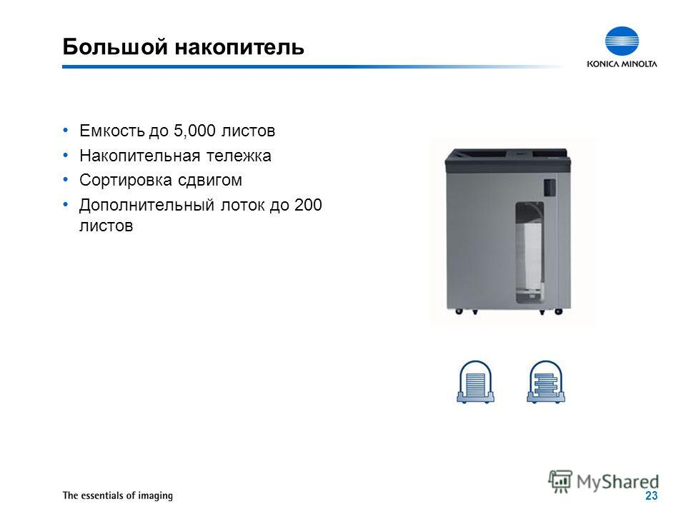 23 Большой накопитель Емкость до 5,000 листов Накопительная тележка Сортировка сдвигом Дополнительный лоток до 200 листов