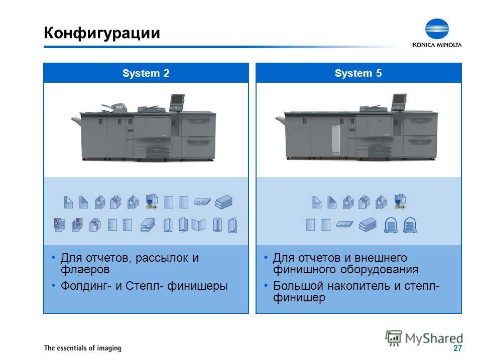 27 System 2System 5 Конфигурации Для отчетов и внешнего финишного оборудования Большой накопитель и степл- финишер Для отчетов, рассылок и флаеров Фолдинг- и Степл- финишеры