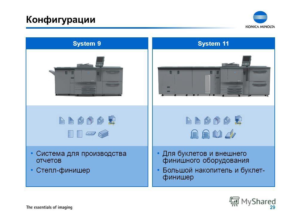 29 System 9 Система для производства отчетов Степл-финишер System 11 Для буклетов и внешнего финишного оборудования Большой накопитель и буклет- финишер Конфигурации